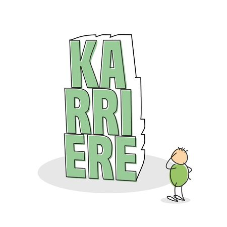 quandary: Green shirted doodle figure scratches his head and stands with one arm on hip as he stares at the german career text built of stack letters Stock Photo