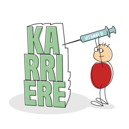 inject: Suspicious red shirted doodle figure holds syringe above his head and looks over shoulder as he inject the letters spelling career in german against a white background
