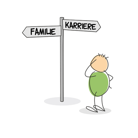 Uncertain doodle figure scratching his head as he stands beside crossroads direction sign with the words family and career written in german printed on it Stock Photo