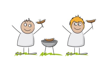 hot wife: Smiling cute husband and wife doodle figures holding cooked hot dogs besides grill standing in impressions of grass against a white background Stock Photo