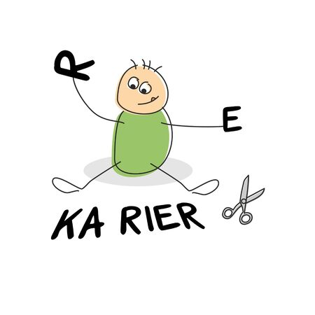 seated: Cute stick figure seated by german career text clothed in green and playing with the letters r and e besides scissors
