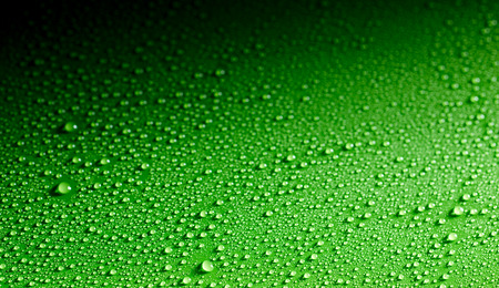Surface made from close up view of dew drops spread across a shiny green surface Stockfoto