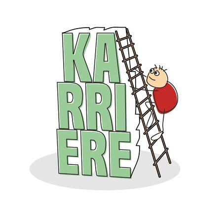 Red shirted stick figure climbing step ladder placed against german career text colored green with shadow
