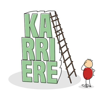 uncertain: Uncertain stick figure wearing red shirt scratches his head and stands by tall stack of letters the word career in german with a ladder leaning against it