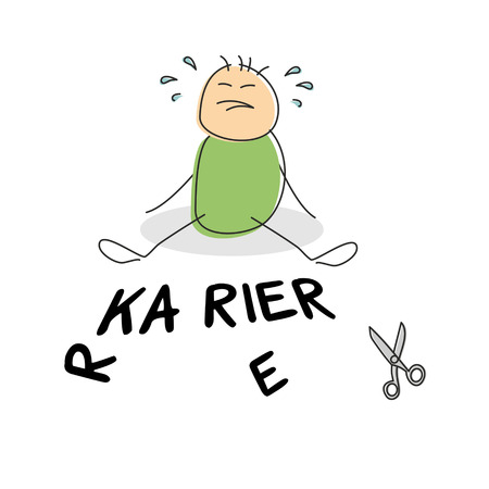 inability: Adorable green shirted doodle figure crying as he sits beside the german word for career and scissors