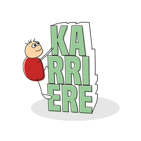 career up: Single cute smiling red shirt stick figure climbing up light green German career text with shadow over white background Stock Photo