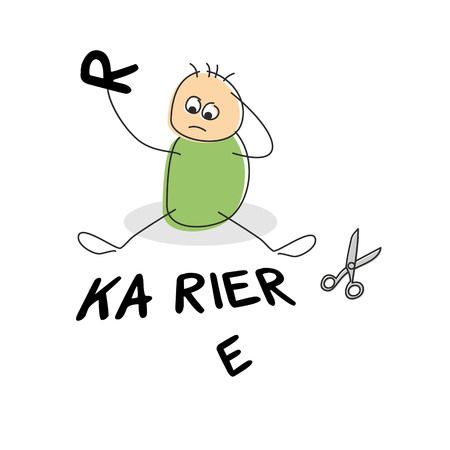 illiteracy: Confused cute stick figure scratches head seated besides scissors and the german word for career while holding the letter r Stock Photo
