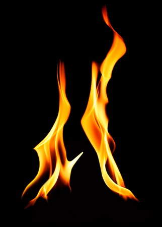 incendiary: Two distinct hot burning flames over black background for concepts about camp fires, cooking or heating