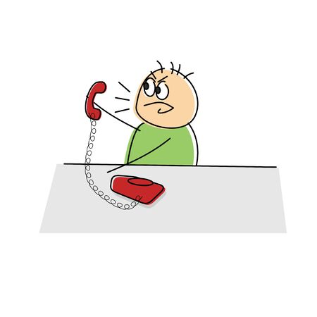 yelling: Angry cartoon figure yelling into a land line telephone while holding the handset away from his ear, vector drawing Stock Photo