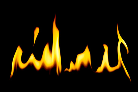 incendiary: Horizontal row of yellow hot burning flames over black background for concepts about barbecue or heating