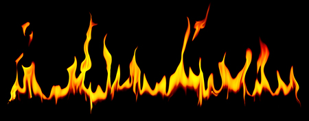 incendiary: Long row of fiery flames over black background with copy space for concepts about suffering, cooking or flammable things