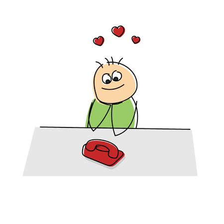 lovelorn: Adorable lovesick cartoon figure sitting at a table watching a telephone waiting for it to ring surrounded by red hearts in the air