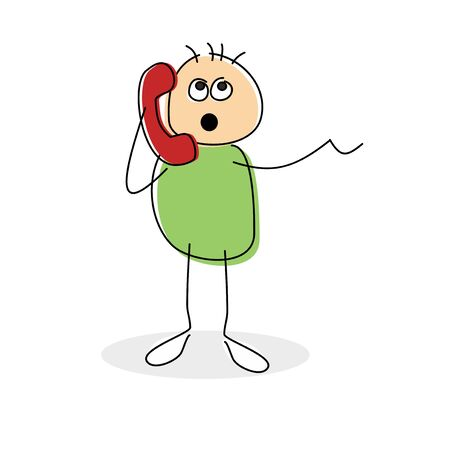 socialising: Cute cartoon stick figure standing chatting on a red landline telephone gesturing with the other hand, vector illustration