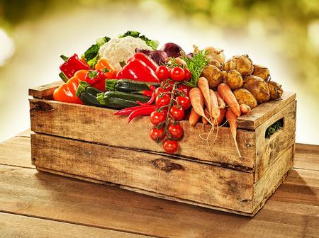 나무 상자에 시장에서 야외에서 나무 테이블에 양파, 토마토, 고추, 감자, 당근, courgettes와 콜리 플라워 등 농장 신선한 야채 가득
