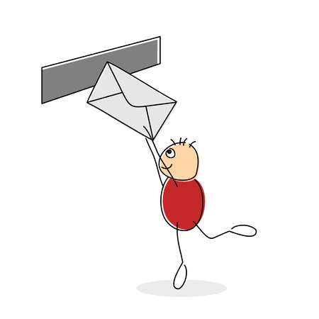 Red shirted doodle figure mailing a letter while standing on one leg and reaching towards slot