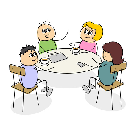 seated: Cartoon business meeting having coffee at a table as they smile and chat together with a tablet and mobile in front of them on a white background