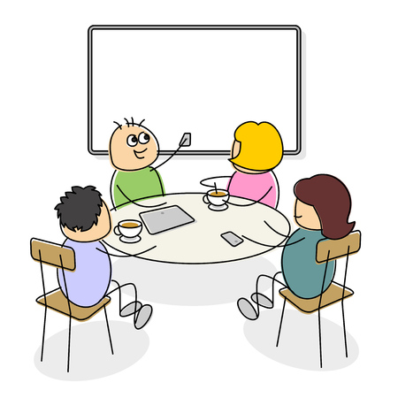 Business people of cute cartoon figures sitting at a table having coffee with the father pointing a device at a blank screen behind him as his wife turns to look