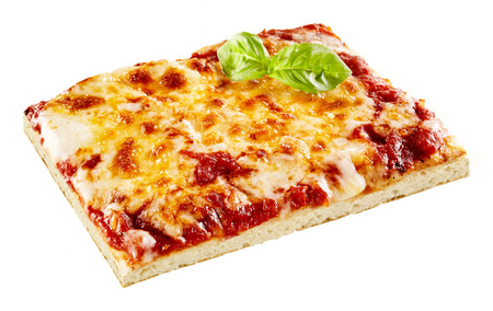 Slice of tasty Margherita pizza with a thick topping of melted mozzarella cheese on tomato garnished with fresh basil, on white Banco de Imagens