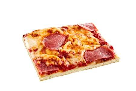 pizza base: Rectangular portion of traditional Italian salami pizza with spicy cured beef and pork sausage on melted mozzarella and tomato on a thin pie crust isolated on white