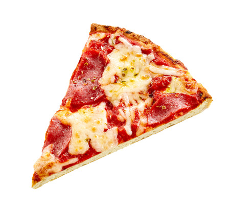Slice of traditional Italian pepperoni pizza topped with melted mozzarella cheese and spicy sausage isolated on white
