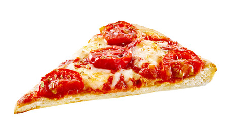 Tasty plain margherita Italian pizza slice with fresh cherry tomatoes on melted mozzarella cheese on a thin pie crust, on white