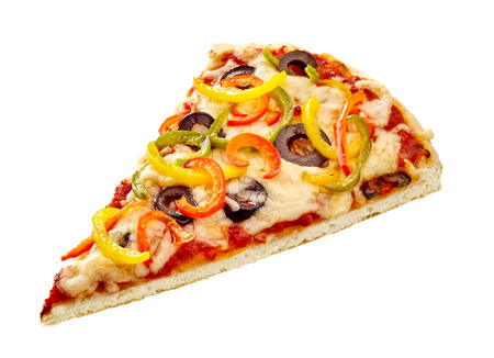 Italian pizza wedge topped with colorful assorted sweet pepper, olives and melted mozzarella cheese on a thin pastry base isolated on white with copy space