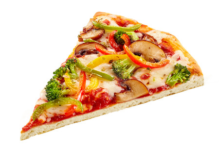 Delicious fresh vegetable pizza on a thin crisp base with broccoli, mushroom, bell peppers and tomato on melted mozzarella cheese isolated on white Archivio Fotografico