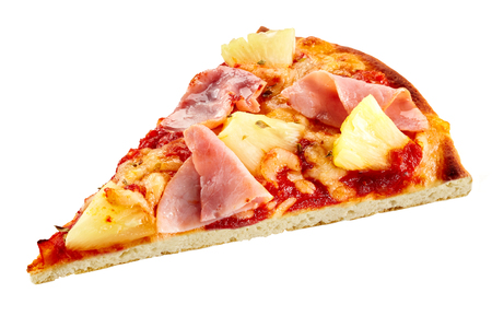 Delicious thin flame grilled ham and pineapple pizza with mozzarella cheese isolated on white for a tasty finger snack