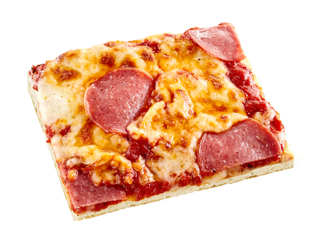 Portion of cooked Italian pepperoni pizza with spicy sausage on melted mozzarella cheese and tomato on a thin crust, high angle on white