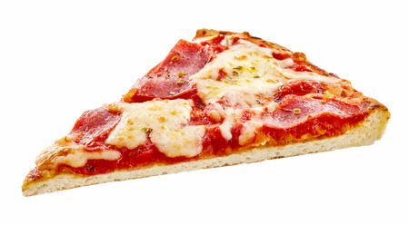 Spicy pepperoni Italian pizza slice with melted mozzarella and tomato on a thin crust for a tasty snack, isolated on white