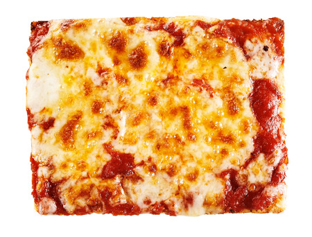 Background texture of melted mozzarella and tomato paste browned by a wood fired pizza oven in a full frame overhead view Stock Photo