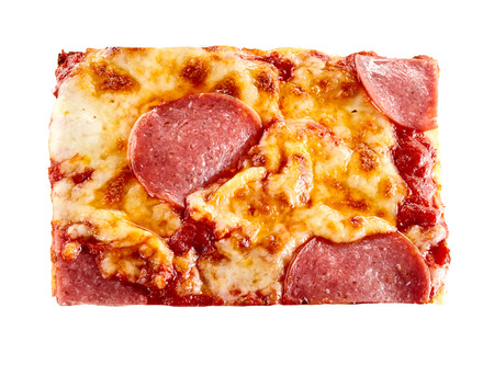 Portion of traditional Italian pepperoni pizza with spicy sausage and melted mozzarella cheese viewed close up from above over white