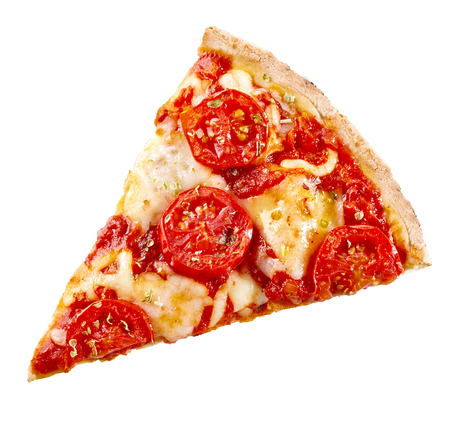 Top view of a slice of margherita Italian pizza with melted mozzarella and sliced tomato on a crispy thin crust isolated on white