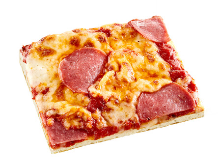 salame: Pepperoni Italian pizza on a thin pie crust topped with melted mozzarella and spicy sausage, isolated single rectangular slice