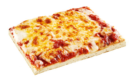 Square slice of vegetarian mozzarella and cheddar cheese pizza with tomato sauce over white background