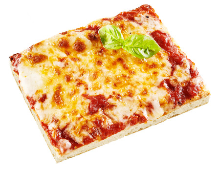 pizza base: Tasty slice of takeaway Italian margarita pizza with melted mozzarella cheese and tomato on a thin pastry base isolated on white Stock Photo