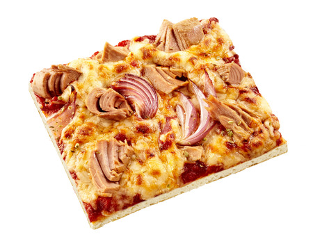 pizza base: Seafood pizza with tuna and onions on a bed of mozzarella cheese and tomato on a thin base viewed high angle on white for tasty Italian cuisine Stock Photo