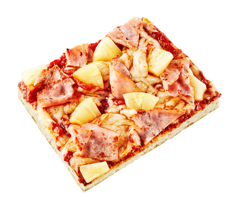 pizza base: Italian Hawaiian pizza on a crispy thin base topped with pineapple, ham, mozzarella and tomato paste viewed high angle isolated on white Stock Photo
