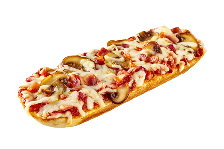 Toasted or grilled baguette topped with tomato, cheese and mushrooms for a delicious snack diagonally on white with copy space