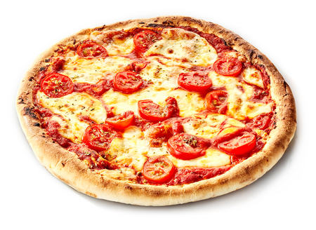 pizza base: Traditional margherita Italian pizza on a thick crusty base with cherry tomatoes and mozzarella cheese for a tasty takeaway or snack