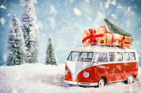 beautiful landscape: Beautiful christmas bus in snowy landscape bringing the gifts to the sweatharts