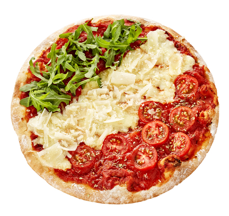 flaked: Patriotic red, green and white Italian pizza with fresh arugula or rocket, cherry tomatoes and flaked parmesan cheese served on a thick pie base isolated on white