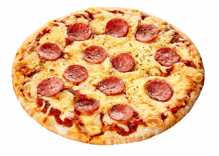 pizza base: Tasty salami Italian pizza on a thick pastry base with melted mozzarella seasoned with pepper isolated on white