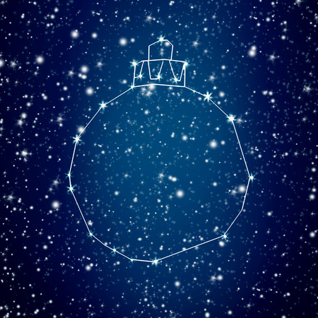 christamas: Bright star Christmas holiday ornament constellation over blue sky for background or greeting card