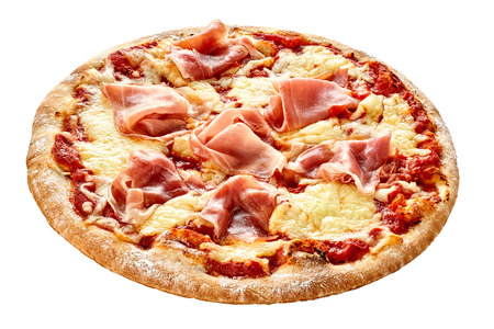 Cured parma ham on a Traditional Italian pizza with mozzarella cheese and tomato on a thick pastry base isolated on white