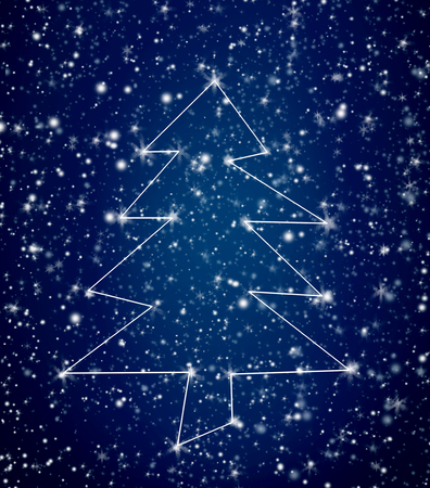 christamas: Large white constellation Christmas tree in snowy blue sky for holiday background theme Stock Photo