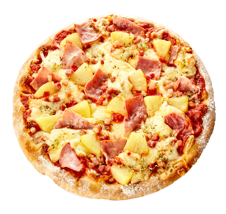 Oven-baked delicious Italian Hawaiian pizza with tropical pineapple and ham topping on mozzarella cheese isolated on white