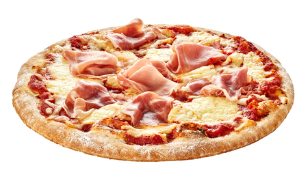 Traditional Italian pizza with prosciutto ham topping on a thick pie crust base isolated on white Standard-Bild