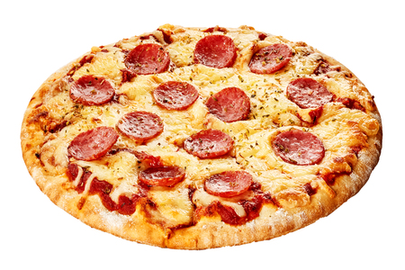 Italian pepperoni pizza with spicy sausage, mozzarella and tomato on a thick pie crust isolated on white viewed whole