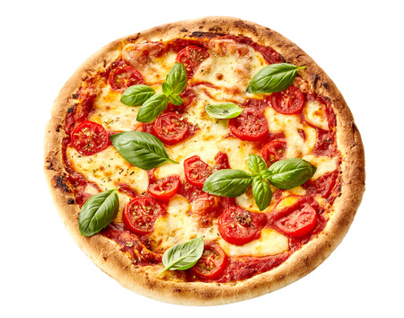 Tasty homemade Margherita Italian pizza on a thick pastry crust garnished with fresh basil, overhead view isolated on white